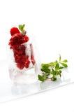 Strawberry ice cream. Dessert in ice cube Stock Photo