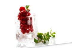 Strawberry ice cream. Dessert in ice cube Stock Images