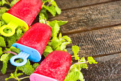 Strawberry ice cream bars.Dessert for summer or all season Stock Photos