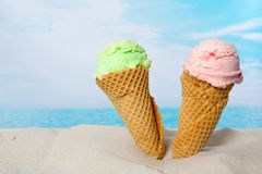 Strawberry ice cream on the beach royalty free stock photography