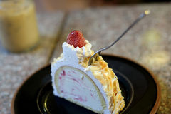 Strawberry on the ice cream cake Royalty Free Stock Images