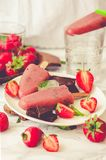 Strawberry ice cream with chocolate popsicles. Raw dessert. Mint. Detox diet and summer food concept.Selective focus.Toning Stock Photo