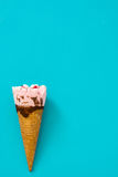 Strawberry ice cream cone on blue background. Fresh Strawberry ice cream cone on blue background Stock Images