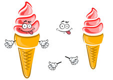 Strawberry ice cream cone cartoon character. Sweet strawberry ice cream cone cartoon character with crunchy sugar cone and happy smile for snack or childish menu Stock Image