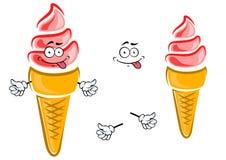 Strawberry ice cream cone cartoon character Stock Image