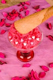 Strawberry ice cream and cone. Homemade ice cream and a waffle cone Stock Image