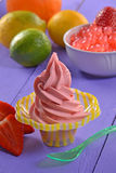 Strawberry ice cream cup Stock Image