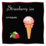 Strawberry ice cream. Dessert on a black background for the menu of the restaurant and cafe. Strawberry. Isolated Vector Illustration Stock Images