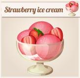 Strawberry ice cream.  Detailed Vector Icon Stock Photos