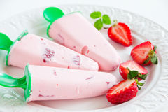 Strawberry ice cream with fresh berries. Homemade strawberry ice cream with fresh berries stock photo