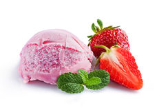 Strawberry ice cream and fresh strawberries Stock Photo