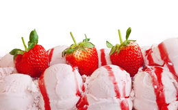 Strawberry ice cream and fruits Royalty Free Stock Images