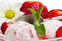 Strawberry ice cream with fruits close up Stock Photos