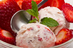 Strawberry ice cream with fruits close up Stock Images