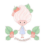 Strawberry ice cream girl character. Vector illustration of cartoon girl with ice cream instead of the hairstyle, isolated on white background Stock Image