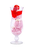 Strawberry ice-cream in a glass. Ice-cream isolated on white background Stock Photo