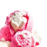 Strawberry Ice Cream   Ice-Cream Balls close up. Royalty Free Stock Photo