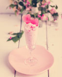 Strawberry ice cream with ice in the shape of a heart in glasses Royalty Free Stock Images