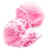 Strawberry Ice Cream Macro.  Ice-Cream Balls close up. Stock Image
