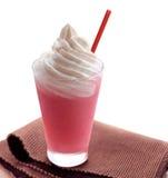 Strawberry ice cream milkshake isolated on white Royalty Free Stock Photos