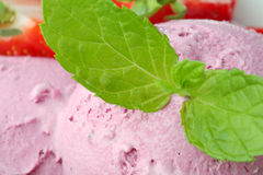Strawberry Ice cream with mint Stock Image