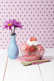 Strawberry ice cream with napkin Stock Images