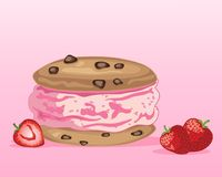 Strawberry ice cream sandwich with fruit on a pink background Royalty Free Stock Photography