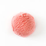 Strawberry ice cream scoop  on white background. Top view Royalty Free Stock Photos