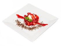 Strawberry ice cream sundae isolated Stock Photos