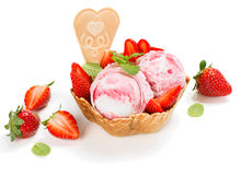 Strawberry ice cream in a wafer bowl Stock Photo