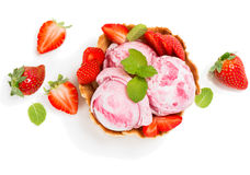 Strawberry ice cream in a wafer bowl, view from above Royalty Free Stock Photos