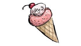Strawberry ice cream wafer illustration Royalty Free Stock Images