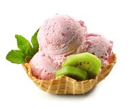 Strawberry ice cream in waffle basket stock photo