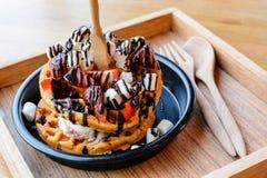 Strawberry ice cream waffle Stock Photography