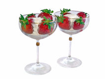 Strawberry ice cream in wineglass Royalty Free Stock Photo