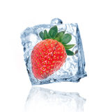 Strawberry in ice cube Royalty Free Stock Photo