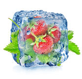 Strawberry in ice Royalty Free Stock Images