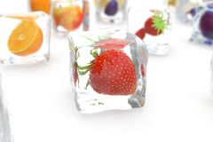 Strawberry in ice cube isolated on white with depth of field effects. Ice cubes with fresh berries. Berries fruits. Frozen in ice cubes. 3D rendering Royalty Free Stock Photography