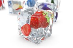 Strawberry in ice cube isolated on white with depth of field effects. Ice cubes with fresh berries. Berries fruits. Frozen in ice cubes. 3D rendering Stock Photo