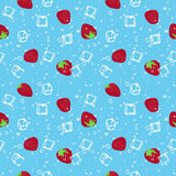 Strawberry and ice cubes blue seamless vector pattern. Strawberry mojito seamless vector pattern.  Ice cubes, strawberry and mint illustration on white Royalty Free Stock Photo