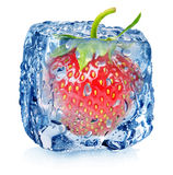 Strawberry in ice with drops Royalty Free Stock Photography