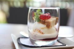 Strawberry icecream with cheese cake Stock Photo