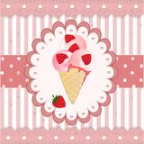 Strawberry icecream on the pink background Stock Images
