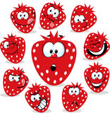 Strawberry icon cartoon with funny faces Stock Images