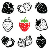 Strawberry icon. Collection - outline and silhoue royalty free illustration
