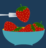 Strawberry icon. Flat design style modern illustration. Blue plate concept stock illustration