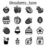 Strawberry icon set Stock Photography