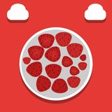 Strawberry illustration - vector. Collection of strawberries on a plate is suitable for consumption in spring and summer stock illustration