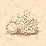 Strawberry. Image of  strawberry with  kernels, leaves, stalk, flowers and tendrils. A strawberry cut in half. Sketch vintage outline illustrations. Beige Stock Photos