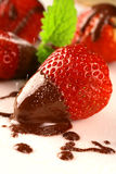 Strawberry In Chocolate Stock Photography